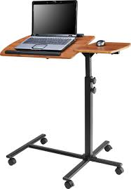 superb floating standup computer desk with single leg on wheels of