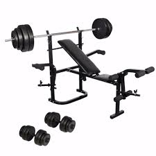 weight bench with weights and bar set bench decoration