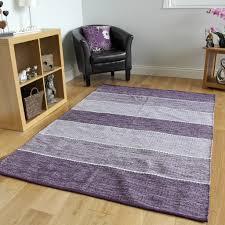 Cotton Flat Weave Rug Purple Lilac Striped Woven Modern Rug Cotton Flat Weave Reversible