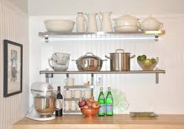 durable stainless steel wooden kitchen shelving units on white
