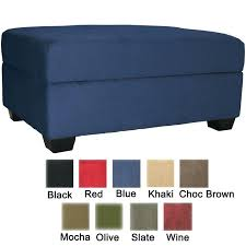 blue storage ottoman vintage steel blue leather chesterfield