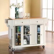 kitchen rolling cart storage island natural wood top utility in