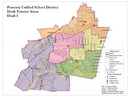 map of pomona california county oks pomona unified shift to five trustee voting areas from
