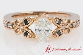 butterfly engagement ring butterfly milgrain oval with black diamond engagement ring in