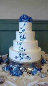 silver and royal blue wedding modern romantic blue silver white buttercream flowers round
