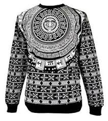 tribal sweater s imperious epic mayan tribal print black fleece crew