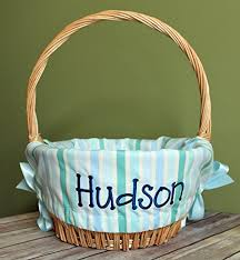 personalized basket personalized easter basket liner blue and green