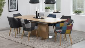 Esszimmer Aus Eiche Nora Armlehnstuhl Sessel In Stoff Patchwork Grau Eiche