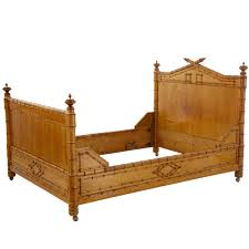 19th century french carved faux bamboo pine double bed frame at