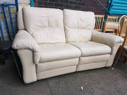 Pre Owned Chesterfield Sofa by Cream Leather 2 Seater Recliner Sofa In Newcastle Tyne And Wear