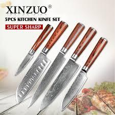 set couteau de cuisine xinzuo 5 pcs couteau de cuisine set 73 couches damas couteau de