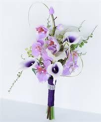 purple lillies purple picasso calla lilies and lilac orchids bouquet purple