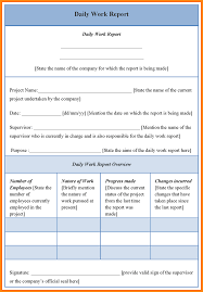 employee daily report template 7 daily work report sle model resumed
