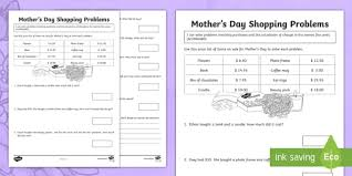 s day shopping s day shopping problems activity sheet s day