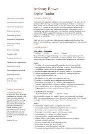 best ideas of sample english teacher resume in template