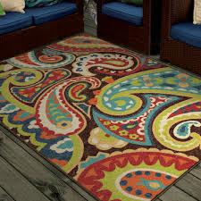 Orange And Brown Area Rug Orian Rugs Bright Colors Paisley Monteray Indoor Outdoor Area Rug