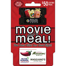 dinner gifts brinker regal movie and a meal gift card combo pack