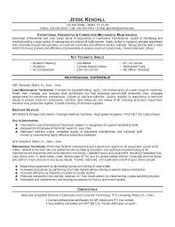 technical resume template audio visual technician resume maintenance resume template free