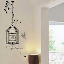 wall mural decal street art black and white wall mural vinyl quote birdcage decal decoration room stickers removable tree sticker kids deer