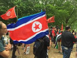 Joseph Stalin Flag North Korea Flag At Antifa Rally On May Day 2017 Officialdp