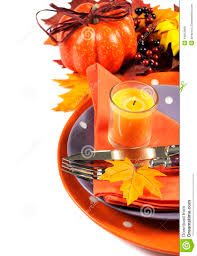 thanksgiving theme happy halloween or thanksgiving party table place setting with