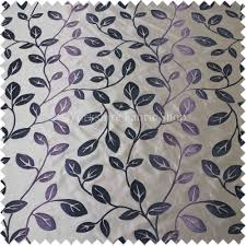 purple plum colour spirit leafs pattern taffeta faux silk fabric
