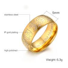 muslim wedding ring 5mm stainless steel muslim words islam gold ring prayer