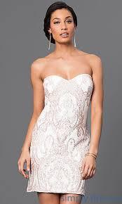 gold embroidered short strapless white dress