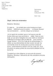 annulation commande cuisine lettre de réclamation livraison tardive retard modèle de lettre