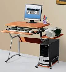 modern minimalist computer desk with sliding keyboard and cpu