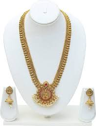 long necklace set images Look ethnic green maroon laxmi long necklace set ruby copper jpeg