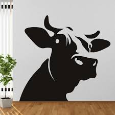 farm yard animal wall stickers iconwallstickers dairy cow head silhouette farmyard animals wall stickers home decor art decals