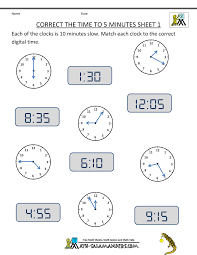 Thanksgiving Worksheets For 3rd Grade Telling Time Clock Worksheets To 5 Minutes