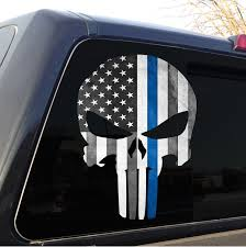 Subdued American Flag With Thin Blue Line Punisher Skull Police Thin Blue Line Grunge American Flag Decal