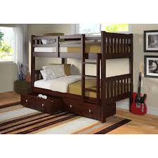 Loft Beds For Kids With Slide Bedroom Donco Kids Loft Twin Bed With Slide Mission Style Bunk Beds