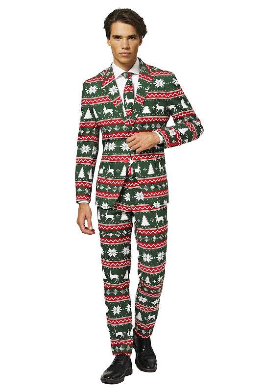 El Venado Verde Green Fair Isle Ugly Christmas Sweater Suit Red OppoSuits