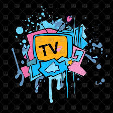 abstract colorful tv set grunge graffiti design vector clipart - Graffiti Design