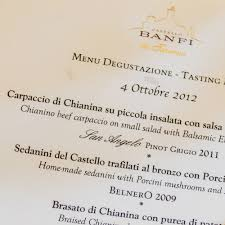 italian writing paper please thank you where s the bathroom italy our italy often has an english translation with the italian like this menu from la taverna at the banfi winery they probably have menus like this in at least