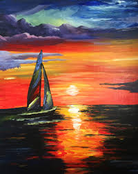 painting event sunset sailboat mellow mushroom new albany