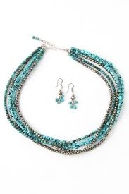 turquoise necklace set images Turquoise iron pyrite five strand necklace earrings silver jpg