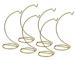 smooth brass metal wire ornament stand 7 inch pack of 6 stands