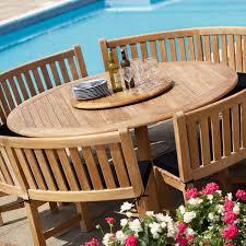 Curved Teak Garden Bench Round Table Outdoor Furniture Outdoor Teak Decking Large Round