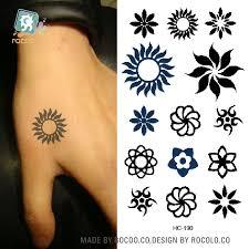 hc 190 2016 men women small tattoo stickers black tribal sun