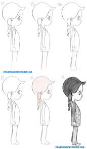 how to draw a cute chibi manga anime from the side view