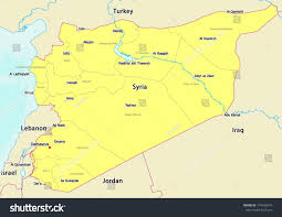 Syria Map by Vector Map Syria Labels Showing Province Stock Vector 174436979