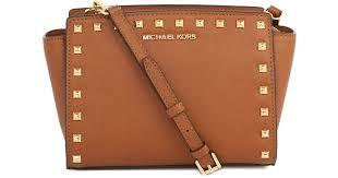 light brown mk purse lyst michael kors selma studded leather crossbody bag in brown