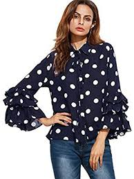 black polka dot blouse floerns s polka dot layered ruffle bell sleeve sheer shirt