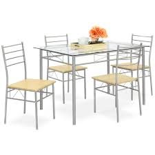 5 piece glass dining table set u2013 best choice products