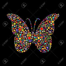 vector illustration of butterfly shape made up a lot of