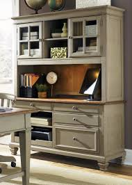 Morgan Computer Desk With Hutch Natural by Bungalow Taupe Jr Executive Home Office Set From Liberty 541